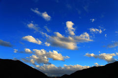 Blue sky with peacefull cotton clouds in Qinghai Tibet Plateau Royalty Free Stock Image