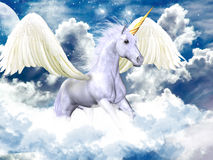 Blue sky pegasus. White pegasus flying in a purple sky