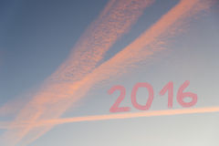 Blue sky with pink clouds, year 2016 Royalty Free Stock Images