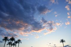 Blue sky with pink gray clouds sunset Stock Images