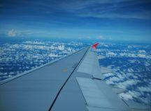 Blue sky on a plane. During the holidays Royalty Free Stock Photos
