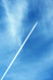 Blue sky with plane Royalty Free Stock Image