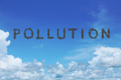 Blue sky with pollution cloud text Royalty Free Stock Photos