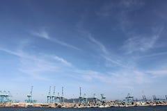 Blue sky port of algeciras ocean background Stock Images