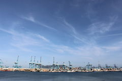 Blue sky port of algeciras ocean background Royalty Free Stock Image