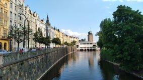 Prague channels. Blue sky at Prague channels royalty free stock photo