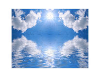 Blue sky and of puzzle. Blue sky and reflection in water as of puzzle Stock Images
