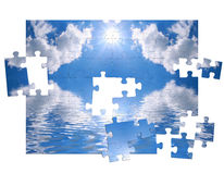 Blue sky and of puzzle. Blue sky and reflection in water as of puzzle Royalty Free Stock Images