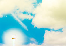 Blue Sky with radial Cross Royalty Free Stock Image