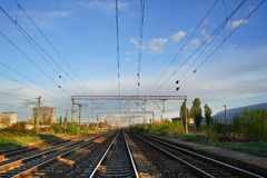 Blue sky and rails Royalty Free Stock Photos
