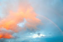 Sky. Blue Sky with Rainbow and clouds Royalty Free Stock Photography