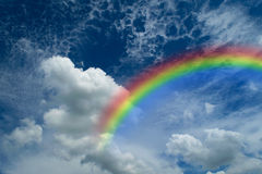 Blue sky with rainbow Royalty Free Stock Images