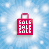 Blue Sky Rays Shopping. Blue sky with lights and pink shopping bag Royalty Free Illustration