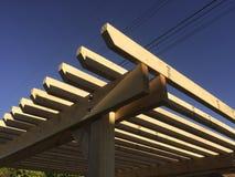 Recent build Pergola at the backyard. Blue sky and the Recent build Pergola at the backyard Stock Images