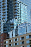 Blue sky reflections in the modern buildings of Denver Stock Images