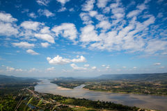 Blue sky and river from viewpoint. River junction,natural border between countries Stock Image