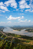Blue sky and river from viewpoint. River junction,natural border between countries royalty free stock image