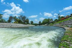 Check dam in Kio Lom Dam, Lampang Province Thailand. Blue sky and river,weir,Check dam in Kio Lom Dam, Lampang Province Thailand Royalty Free Stock Photo