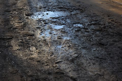 Blue Sky in Road Potholes. Blue sky reflected in the road pothole Stock Photo