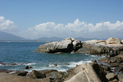 The blue sky and rock bank Stock Photo