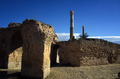 Blue sky and ruins in Carthage, Tunisia Stock Image