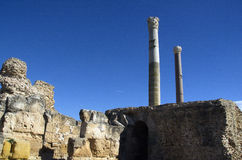 Blue sky and ruins in Carthage, Tunisia Royalty Free Stock Photography