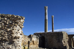 Blue sky and ruins in Carthage, Tunisia Stock Photo