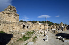 Blue sky and ruins in Carthage, Tunisia Stock Photos