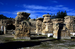 Blue sky and ruins in Carthage, Tunisia Royalty Free Stock Photos