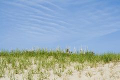 Blue sky and sand royalty free stock photo