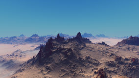 Blue sky sand desert landscape. 3d digital mojoworld landscape render of a sand desert with blue clear sky Stock Photos