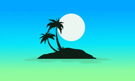 Blue sky scenery with island silhouettes Stock Photo