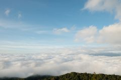 Blue Sky and Sea of Fog Royalty Free Stock Image