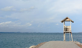 Blue sky and sea. Sky, sea and the little white shack Royalty Free Stock Photography