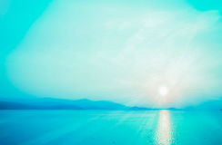 Blue sky and sea  with morning sunrise  background Royalty Free Stock Photo