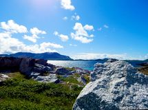 Blue sky and sea in the north of Norway stock images
