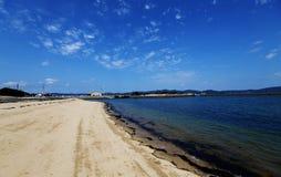 Blue sky and sea. White-sand beaches and bule sky Stock Photo