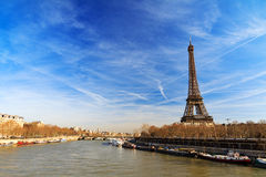 Blue sky Seine Eiffel Royalty Free Stock Photo