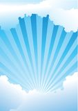 Blue-sky with shining rays. Clear blue-sky with shining rays Royalty Free Stock Photo