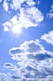 Blue sky shining sun Royalty Free Stock Photography