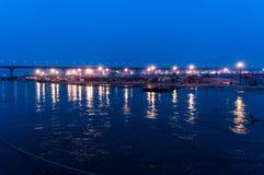 Evening time at bank of ganga river at sangam pryag  allahabad Royalty Free Stock Image