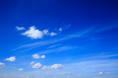 Blue sky with small clouds. Some small white clouds spreaded over a bright blue sky Royalty Free Stock Image