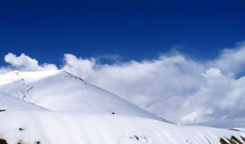 Blue sky and snow mountains stock image