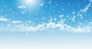Blue sky with snowflakes Royalty Free Stock Photo