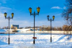 Three lampposts before the river, Uglich, Russia. stock images