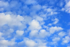Blue sky, soft sky fluffy cloud background Stock Photo