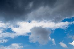 Blue Sky with some white clouds. Blue Sky is partly filled with white clouds stock photo