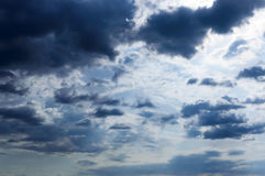 A blue sky with storm clouds. Before the rain royalty free stock photos