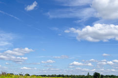 Blue sky in summer. Blue sky summer day in the wild countryside Stock Photography