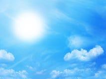 Blue sky and sun stock photos